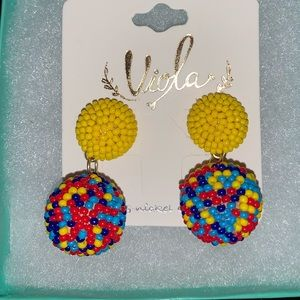 Multi-color seed bead earrings